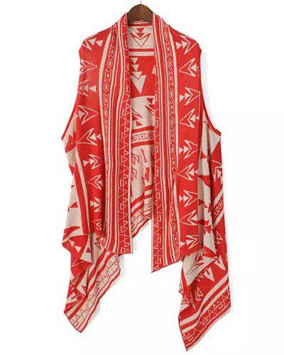 Ethnic Style Sleeveless Collarless Retro Print Women's Waistcoat - RED/WHITE ONE SIZE(FIT SIZE XS TO M)