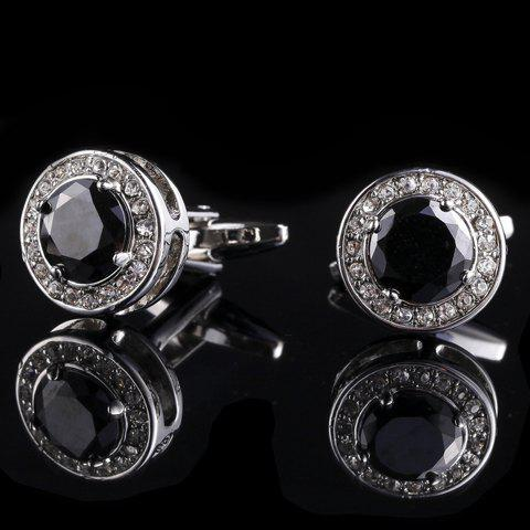 Pair of Stylish Rhinestones and Faux Gem Embellished Men's Alloy Rounded Cuff Links