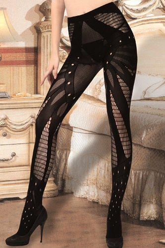 Sexy Stripy and Hollow Out Design Women's Elastic Pantyhose - BLACK
