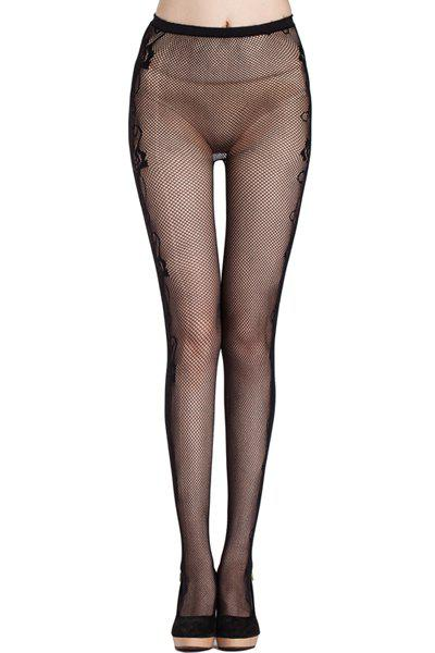 Sexy Rose Side Pattern Small Mesh Women's Elastic Pantyhose - BLACK
