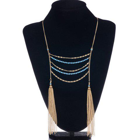 Fake Turquoise Beads Layered Necklace -  GOLDEN