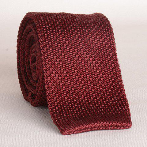 Stylish Wine Red Men's Knitted Neck Tie - WINE RED