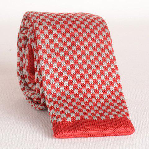 Stylish White and Red Men's Knitted Neck Tie - RED/WHITE