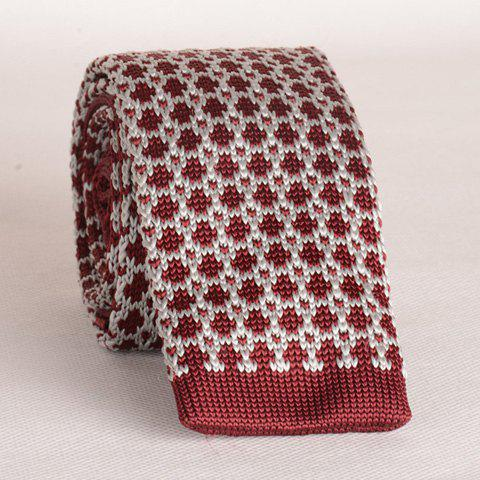 Stylish Mesh Pattern Color Block Men's Knitted Neck Tie - RED/WHITE