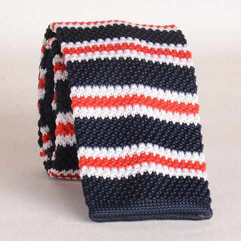 Stylish Various Stripe Pattern Color Splice Men's Knitted Neck Tie - BLUE/RED