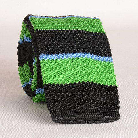 Stylish Wide Stripe Pattern Color Splice Men's Knitted Neck Tie - BLACK/GREEN