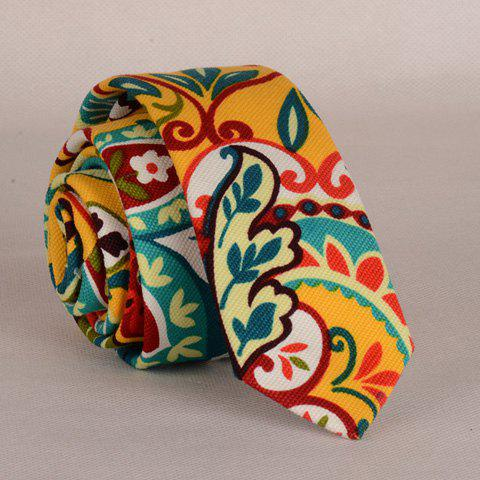 Stylish Colorful Folk Hand Painted Flower and Leaf Pattern Men's Neck Tie - EARTHY