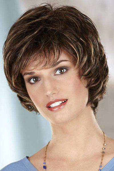 Vogue Curly Side Bang Fluffy Blonde Highlight Short Heat Resistant Synthetic Capless Women's Wig fashion side bang brown highlight charming short curly synthetic capless wig for women