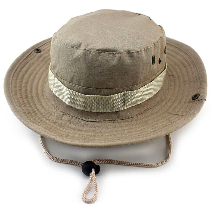 Outdoor Sun Protection Camouflage Hat with Large Bongrace Free Size Quick Dry for Both Men and Women - LIGHT KHAKI