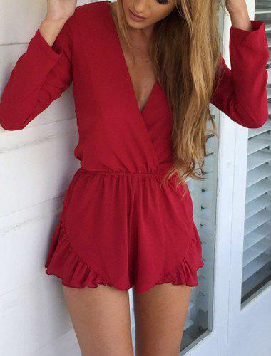 Fashionable Solid Color Long Sleeve Plunging Neck Women's Romper - RED S
