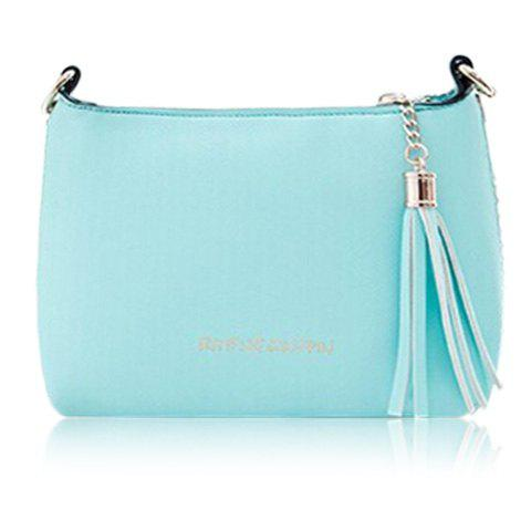 Sweet Candy Color and Tassels Design Crossbody Bag For Women - AZURE