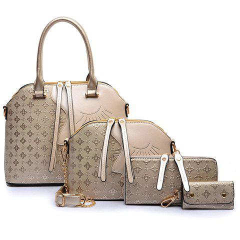 Color Block Handbag Set - GOLDEN