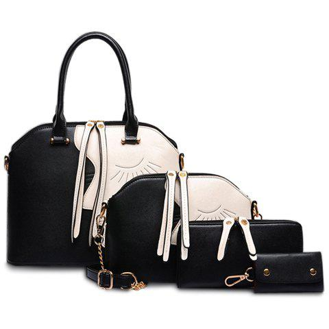 Elegant Color Block and Chains Design Tote Bag For Women - BLACK