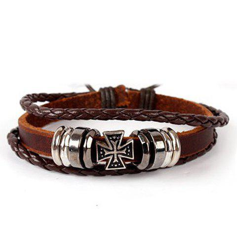 Layered Cross Faux Leather Bracelet - BROWN