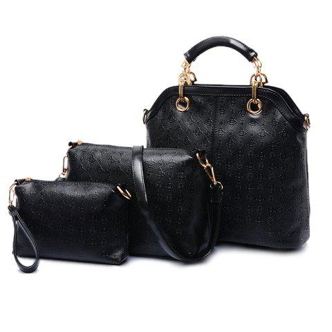 Stylish PU Leather and Argyle Design Tote Bag For Women - BLACK