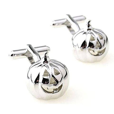 Pair of Stylish Halloween Pumpkin Shape Alloy Cuff Links For Men  pair of stylish bamboo pattern quadrate alloy cuff links for men