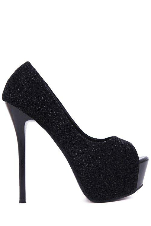 Sexy Bling Bling and Platform Design Women's Peep Toe Shoes - BLACK 36