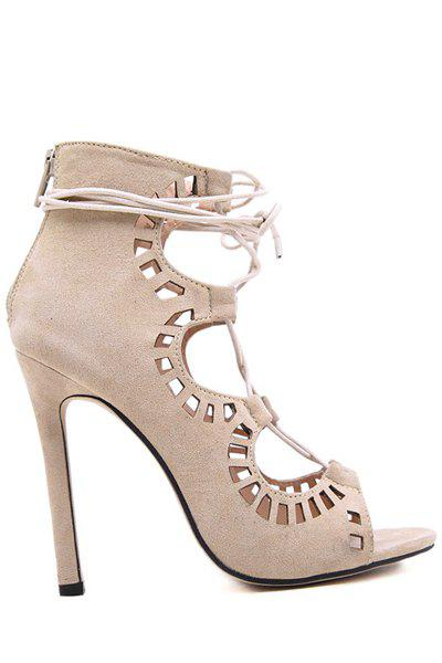 Sexy Suede and Hollow Out Design Stiletto Heel Women's Sandals - APRICOT 39