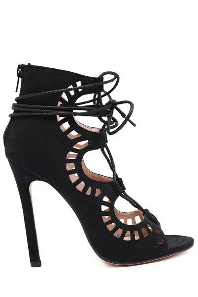 Sexy Suede and Hollow Out Design Stiletto Heel Women's Sandals - BLACK 40