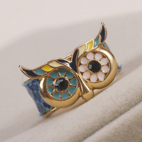 Colored Owl Cuff Ring - GOLDEN ONE-SIZE