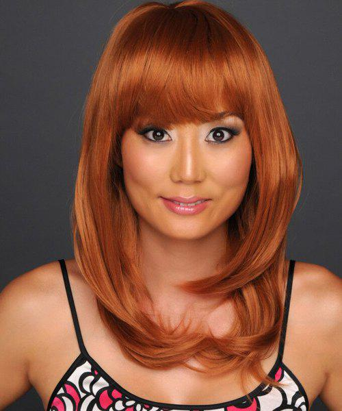 Fluffy Heat Resistant Synthetic Vogue Capless Natural Wavy Neat Bang Long Wig For Women -