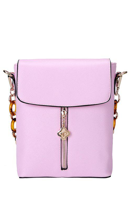 Sweet Candy Color and Metallic Pendant Design Women's Shoulder Bag - PINK