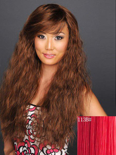 Charming Inclined Bang Fluffy Heat Resistant Fiber Long Capless Curly Wig For Women - RED B