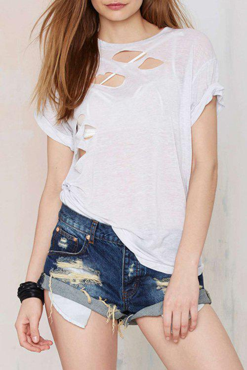 Casual Style Jewel Neck See-Through Cut Out Short Sleeve T-Shirt For Women
