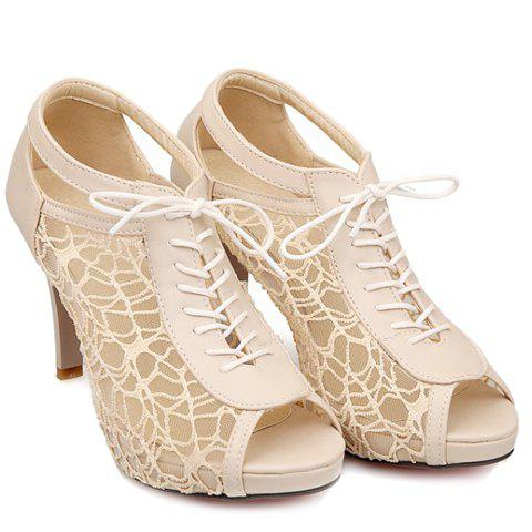 Gorgeous Gauze and Hollow Out Design Peep Toe Shoes For Women - OFF WHITE 38