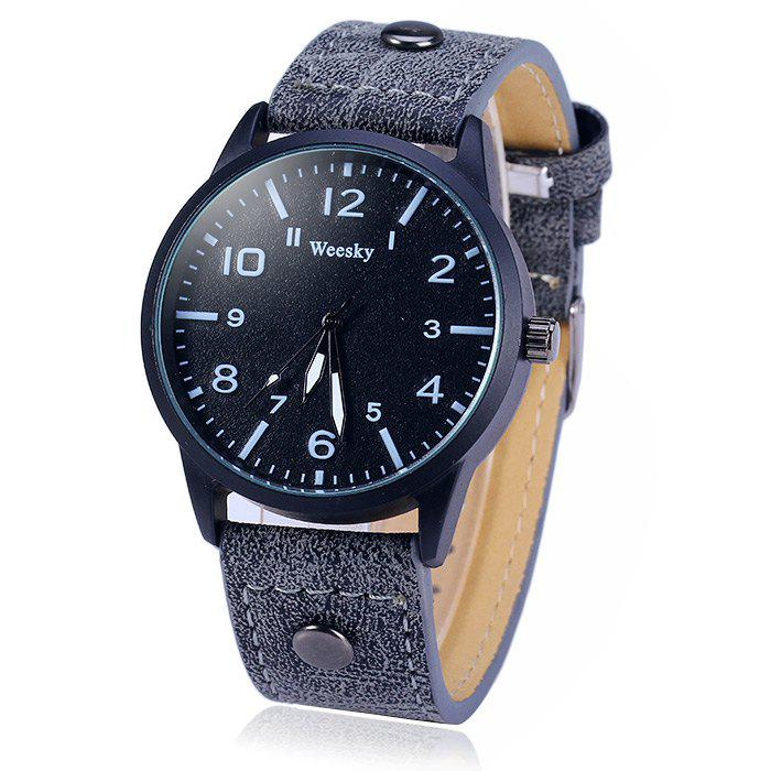 Weesky 1203G Arabic Numerals Scales Male Quartz Watch with Leather Band - BLUE