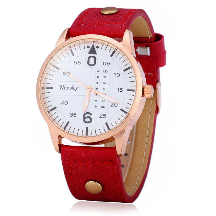 Weesky 1203G Quartz Watch with Decorative Day Leather Band for Men - RED