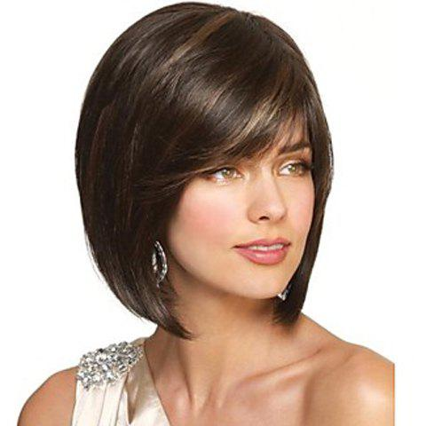 Blonde Highlight Charming Side Bang Bob Straight Synthetic Short Capless Women's Wig - COLORMIX