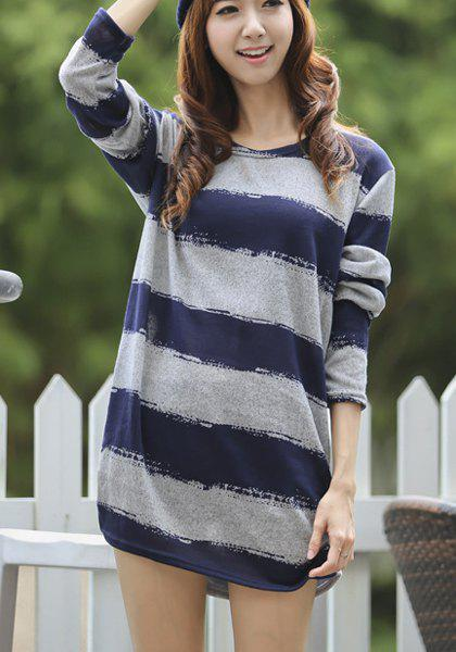Brief Scoop Neck Color Splicing Striped Long Sleeve Dress For Women - ONE SIZE(FIT SIZE XS TO M) BLUE