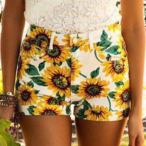 Attractive Colorful Sunflower Printed Bodycon Shorts For Women - YELLOW S