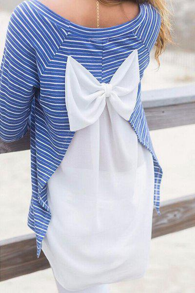 Striped Bowknot Embellished T Shirt