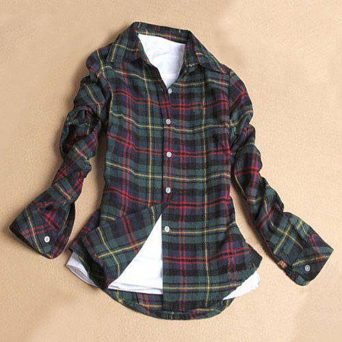 Trendy Multicolored Grid Printed Shirt For Women - GREEN L