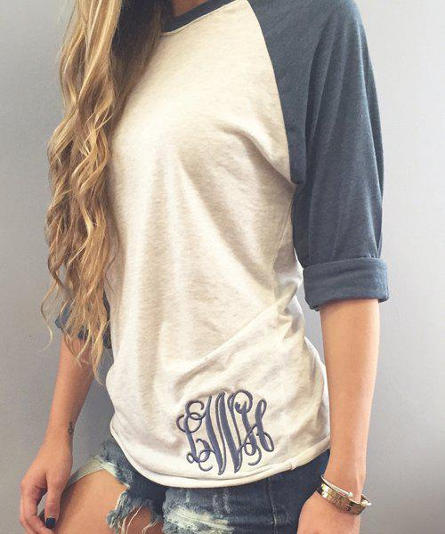 Stylish round neck long sleeve letter embroidery spliced