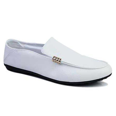 Stylish Style Solid Color and Round Toe Design Boat Shoes For Men - WHITE 41