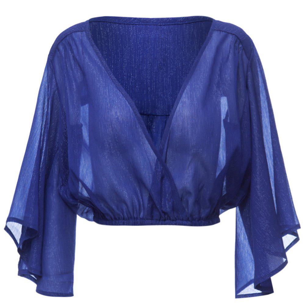 Sexy Pluning Neck Flare Sleeve Chiffon Pure Color Women's Blouse - BLUE M