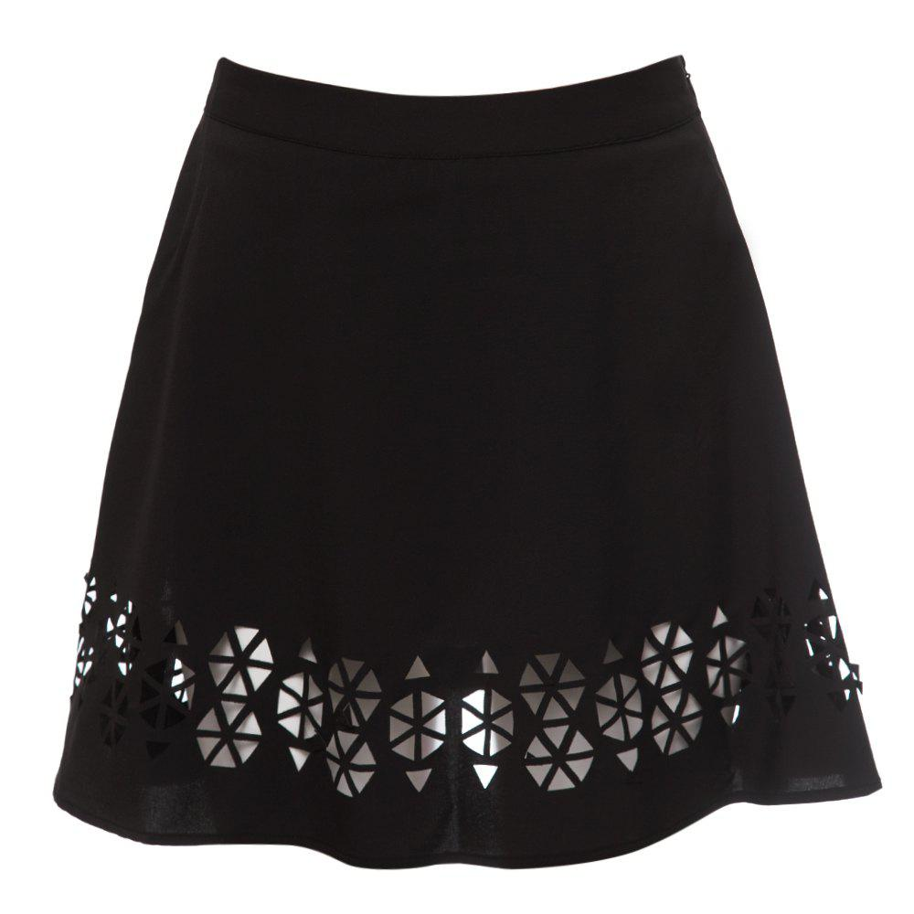 Chic Zippered Solid Color Hollow Out A-Line Women's Skirt