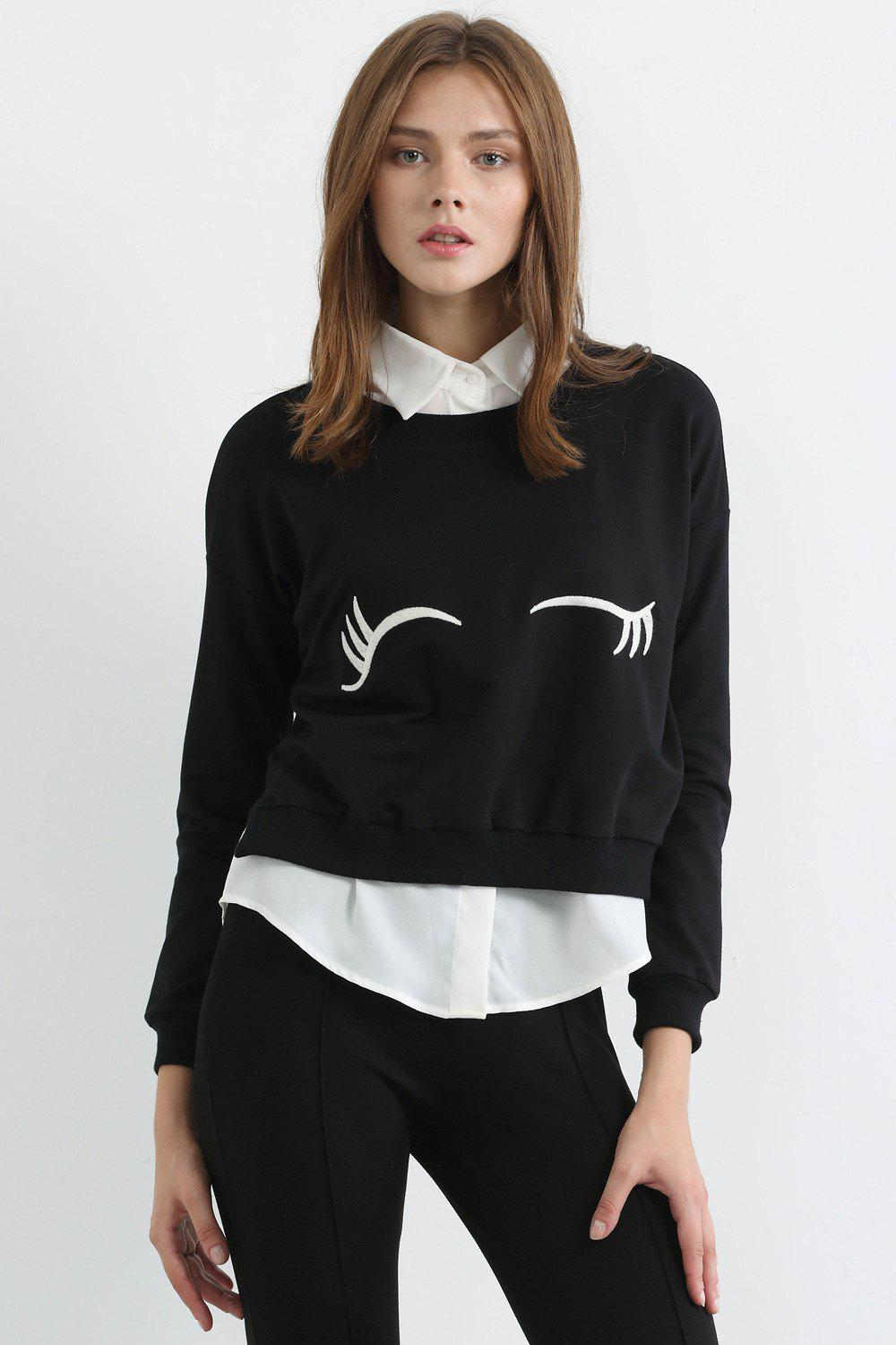 Fashionable Jewel Neck White Eyelash Print Long Sleeve Sweatshirt For Women - BLACK XL