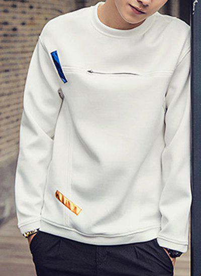 Colorized Stripes Applique Zipper Embellished Round Neck Long Sleeves Men's Slim Fit Sweatshirt - M WHITE