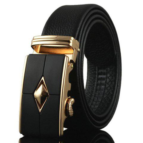 Stylish Golden Rhombus Alloy Embellished Buckle Men's Belt - BLACK