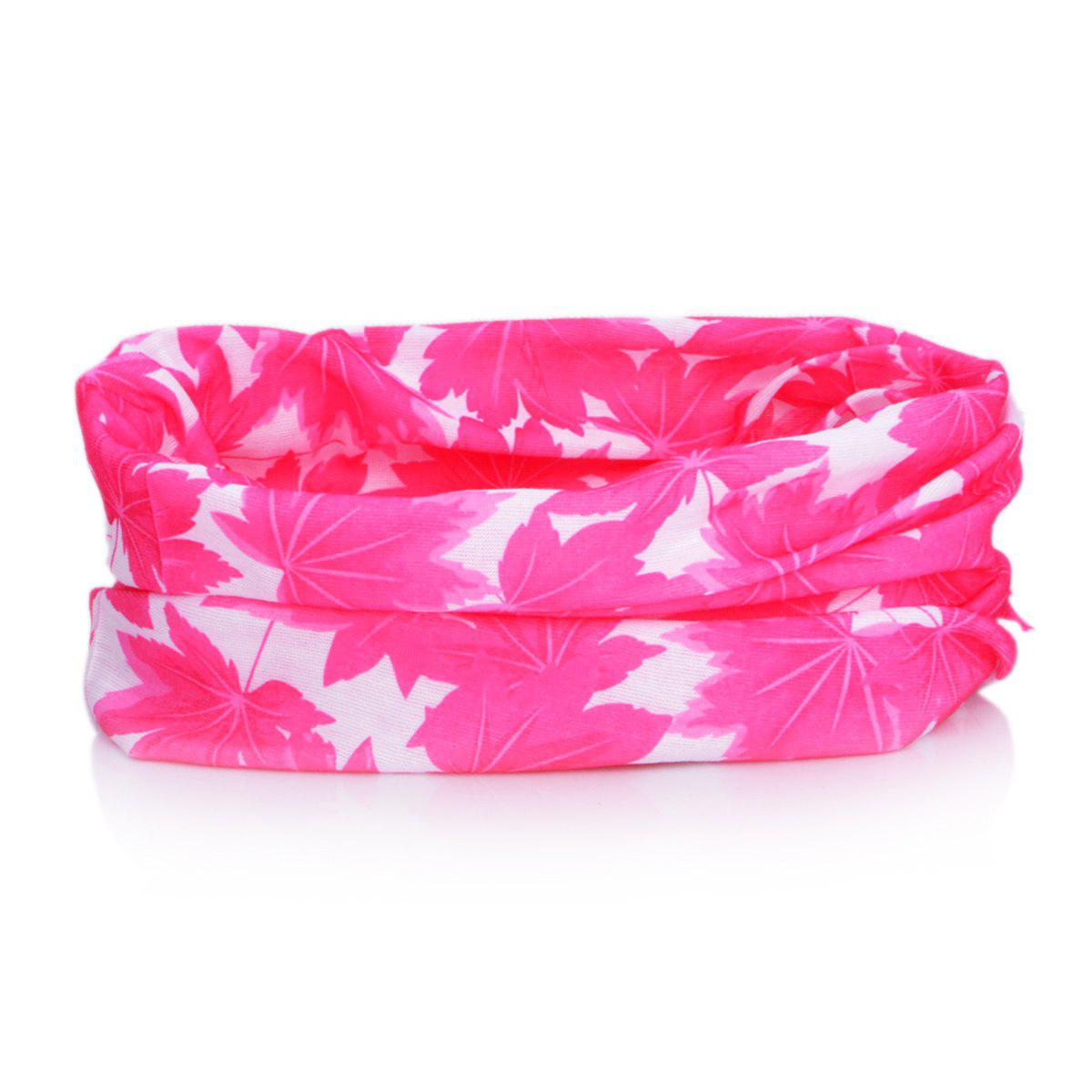 XMS - 17 Cycling Headscarf with Maple Leaves Pattern and Multifunction - 49 x 24cm - RED