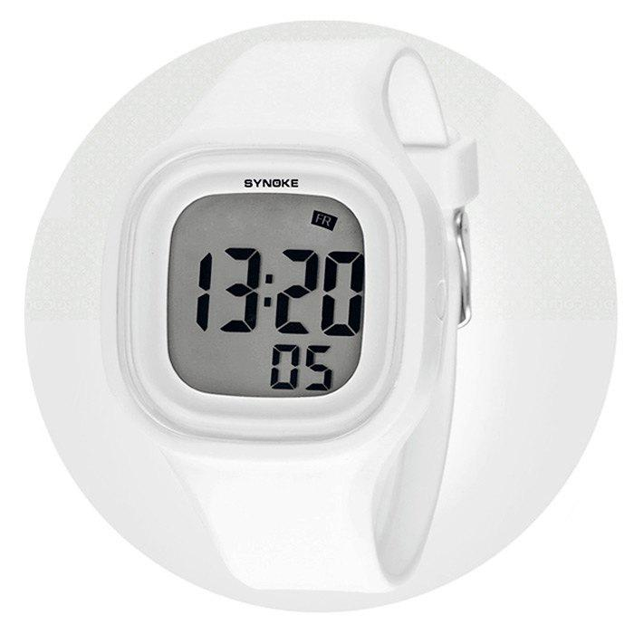 Synoke 66896 Colorful Lights LED Sports Watch Water Resistance with Day Date Alarm Stopwatch Function - WHITE