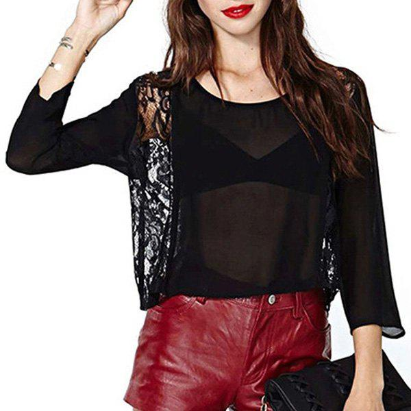 Sexy Scoop Collar 3/4 Sleeve See-Through Cut Out Women's Blouse see through sexy style cut out slimming women s pantyhose