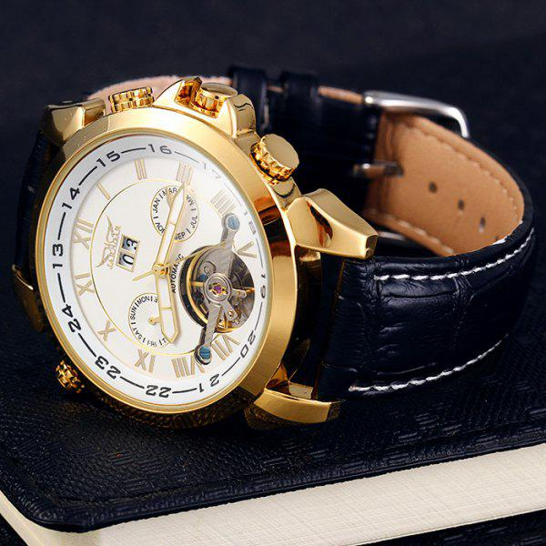 Jaragar H057M Men Tourbillon Genuine Leather Band Automatic Mechanical Watch with Two Working Sub-dials