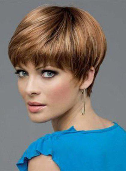 Spiffy Capless Brown Mixed Short Heat Resistant Synthetic Straight Full Bang Women's Wig - BROWN