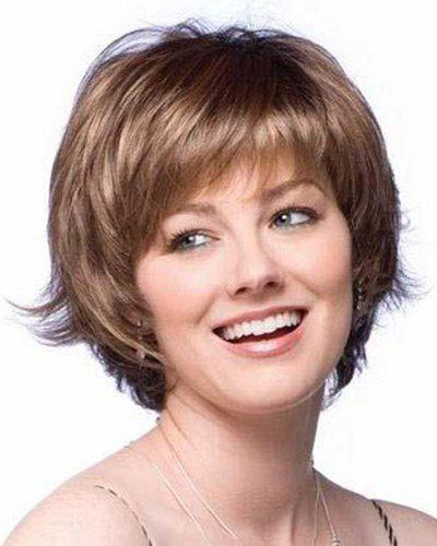 Elegant Heat Resistant Fiber Mixed Color Side Bang Short Wave Capless Wig For Women - COLORMIX