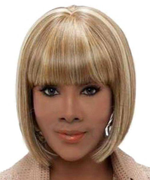 Blonde Mixed Full Bang Fashion Capless Heat Resistant Synthetic Straight Bob Short Women's Wig